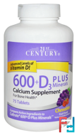 600+D3 Plus Minerals Chewables, Fruit Punch, 21st Century, 75 Tablets