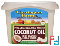 Coconut Oil, 100% Organic Extra Virgin, Carrington Farms, 12 fl oz (355 ml)