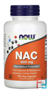 NAC, Now Foods, 600 mg, 100 Veg Capsules