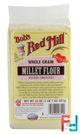 Whole Grain, Millet Flour, Stone Ground, Bob's Red Mill, 23 oz (652 g)