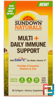 Multi + Daily Immune Support , Sundown Naturals, 60 Softgels