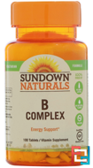B-Complex, Sundown Naturals, 100 Tablets