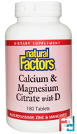 Calcium & Magnesium Citrate, With D, Natural Factors, 180 Tablets