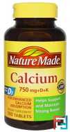 Calcium 750 mg +D + K, Nature Made, 100 Tablets