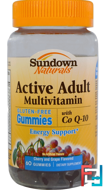 Active Adult Multivitamin, with Co Q-10, Cherry and Grape Flavored, Sundown Naturals, 60 Gummies