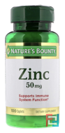 Zinc, Nature's Bounty, 50 mg, 100 Caplets