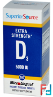 Extra Strength Vitamin D3, Superior Source, 5 000 IU, 100 MicroLingual Instant Dissolve Tablets