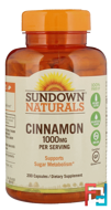 Cinnamon, Sundown Naturals, 1000 mg, 200 Capsules