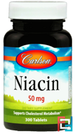 Niacin, Carlson Labs, 50 mg, 300 Tablets
