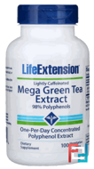 Mega Green Tea Extract, Lightly Caffeinated, Life Extension, 100 Veggie Caps