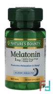 Melatonin, Nature's Bounty, 1 mg, 180 Tablets