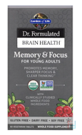 Dr. Formulated Brain Health, Memory & Focus for Young Adults, Garden of Life, 60 Vegetarian Tablets