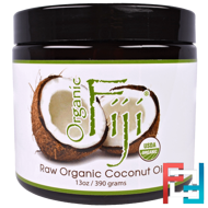 Raw Organic Coconut Oil, Organic Fiji, 13 oz (390 g)