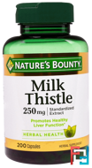 Milk Thistle, 250 mg, Nature's Bounty, 200 Capsules