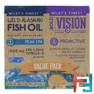 Bold Vision, Proactive & Wild Alaskan Fish Oil, Peak EPA, Value Pack, Wiley's Finest, 550 mg & 1250 mg, 60 Softgels & 30 Softgels