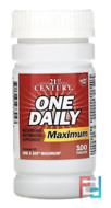 One Daily, Maximum, Multivitamin Multimineral, 21st Century, 100 Tablets