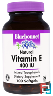 Natural Vitamin E, Bluebonnet Nutrition, 400 IU, 100 Softgels