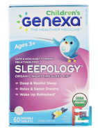 Genexa, Children's Sleepology, Organic Nighttime Sleep Aid, Ages 3+, Vanilla Lavender Flavor, 60 Chewable Tablets