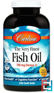 The Very Finest Fish Oil, Natural Lemon Flavor, Carlson Labs, 240 Soft Gels