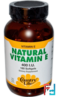 Natural Vitamin E, Country Life, 400 IU, 180 Softgels