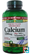 Calcium Plus Vitamin D3, 1200 mg/1000 IU, Nature's Bounty, 220 Rapid Release Softgels