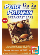Breakfast Bars, Chocolate Almond Oatmeal, Pure Protein, 4 Bars, 1.76 oz (50 g) Each