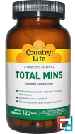 Target-Mins, Total Mins, Country Life, 120 Tablets