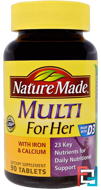 Multi for Her With Iron & Calcium, Nature Made, 90 Tablets