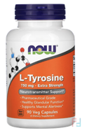 L-Tyrosine, Extra Strength, Now Foods, 750 mg, 90 Capsules