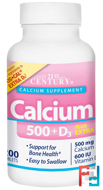 Calcium 500 + D3 Plus Extra D3, 21st Century, 200 Tablets