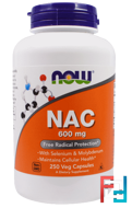 NAC, Now Foods, 600 mg, 250 Veggie Caps