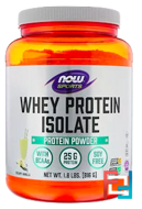 Whey Protein Isolate, Powder, Sports, Now Foods, 1.8 lbs, 816 g