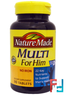 Multi for Him, No Iron, Nature Made, 90 Tablets