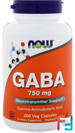 GABA, Now Foods, 750 mg, 200 Veg Capsules
