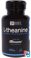 L-theanine, Sports Research, 200 mg, 60 Softgels