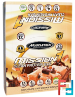 Mission1 Baked Protein Bar, Chocolate Chip Cookie Dough, Muscletech, 12 Bars, 2.12 oz (60 g) Each