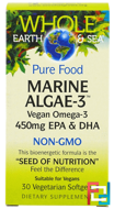 Whole Earth & Sea, Marine Algae-3, 450 mg EPA & DHA, Natural Factors, 30 Veggie Caps
