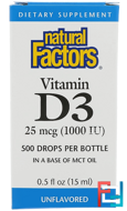 Vitamin D3 Drops, 1000 IU, Natural Factors, 0.5 fl oz (15 ml)