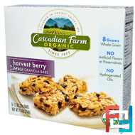 Organic, Chewy Granola Bars, Harvest Berry, Cascadian Farm, 6 Bars, 1.2 oz (35 g) Each