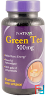 Green Tea, Natrol, 500 mg, 60 Capsules