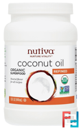 Organic Coconut Oil, Refined, Nutiva, 15 fl oz (444 ml)