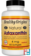 Astaxanthin, Healthy Origins, 4 mg, 60 Softgels