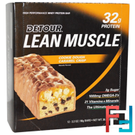Lean Muscle Bars, Cookie Dough Caramel Crisp, Detour, 12 Bars, 3.2 oz (90 g) Each