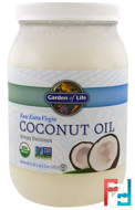 Raw Extra Virgin Coconut Oil, Garden of Life, 56 fl oz (1.6 l)