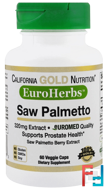 EuroHerbs, Saw Palmetto Extract, California Gold Nutrition, CGN, 320 mg, 60 Veggie Caps