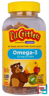 Omega-3, Natural Raspberry and Lemonade Flavors, L'il Critters, 120 Gummies