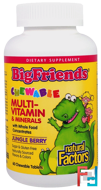 Big Friends, Chewable Multi-Vitamin & Minerals, Jungle Berry, Natural Factors, 60 Chewable Tablets