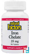 Iron Chelate, Natural Factors, 25 mg, 90 Tablets