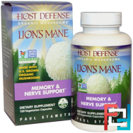 Host Defense, Lion's Mane, Memory & Nerve Support, Fungi Perfecti, 120 Veggie Caps