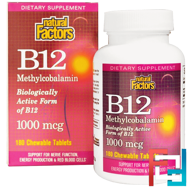 B12, Methylcobalamin, 1000 mcg, Natural Factors, 180 Chewable Tablets